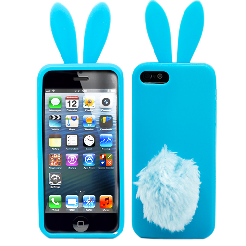 "Чехол для iPhone 5 ""Bunny"" (голубой) Kawaii"