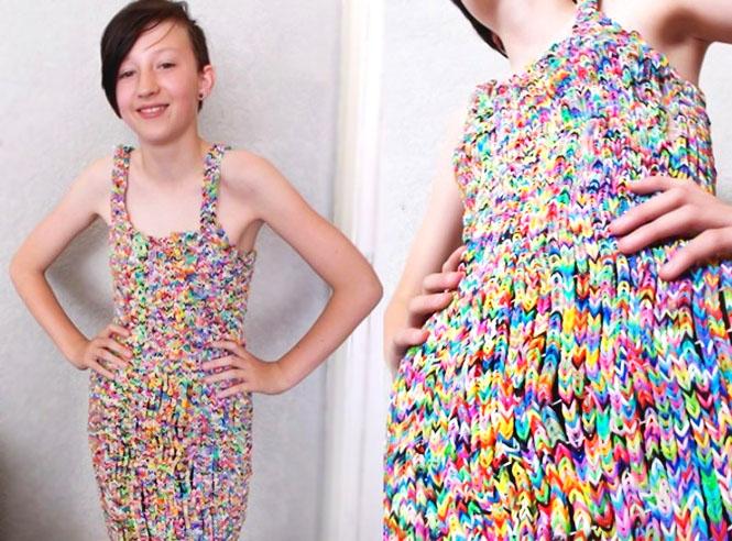 Плетение резинками платье