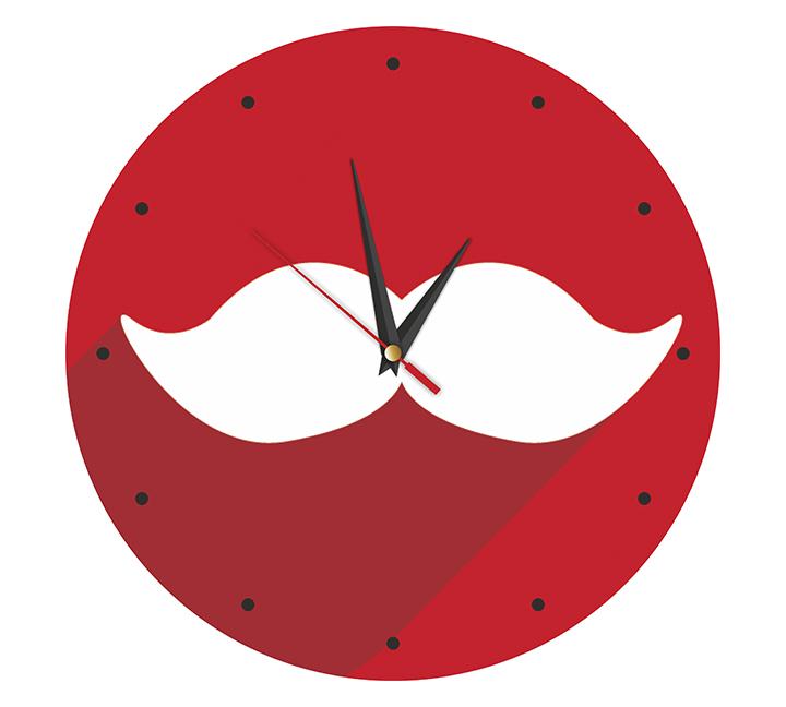 """настенные часы """"Усы"""" красные"""